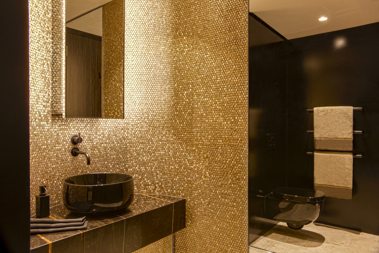 Want space? Need space? This powder room – brown
