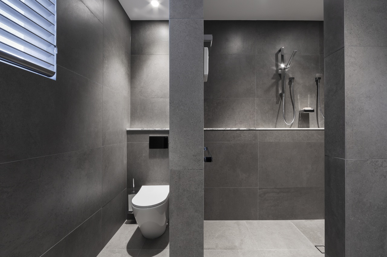 These toilet and shower cubicles are located in gray, black