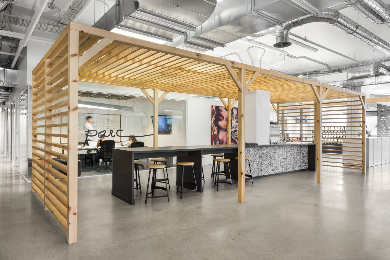 Timber framing and pergolas mark new, inserted structures architecture, building, ceiling, floor, flooring, furniture, house, interior design, loft, office, property, real estate, room, gray
