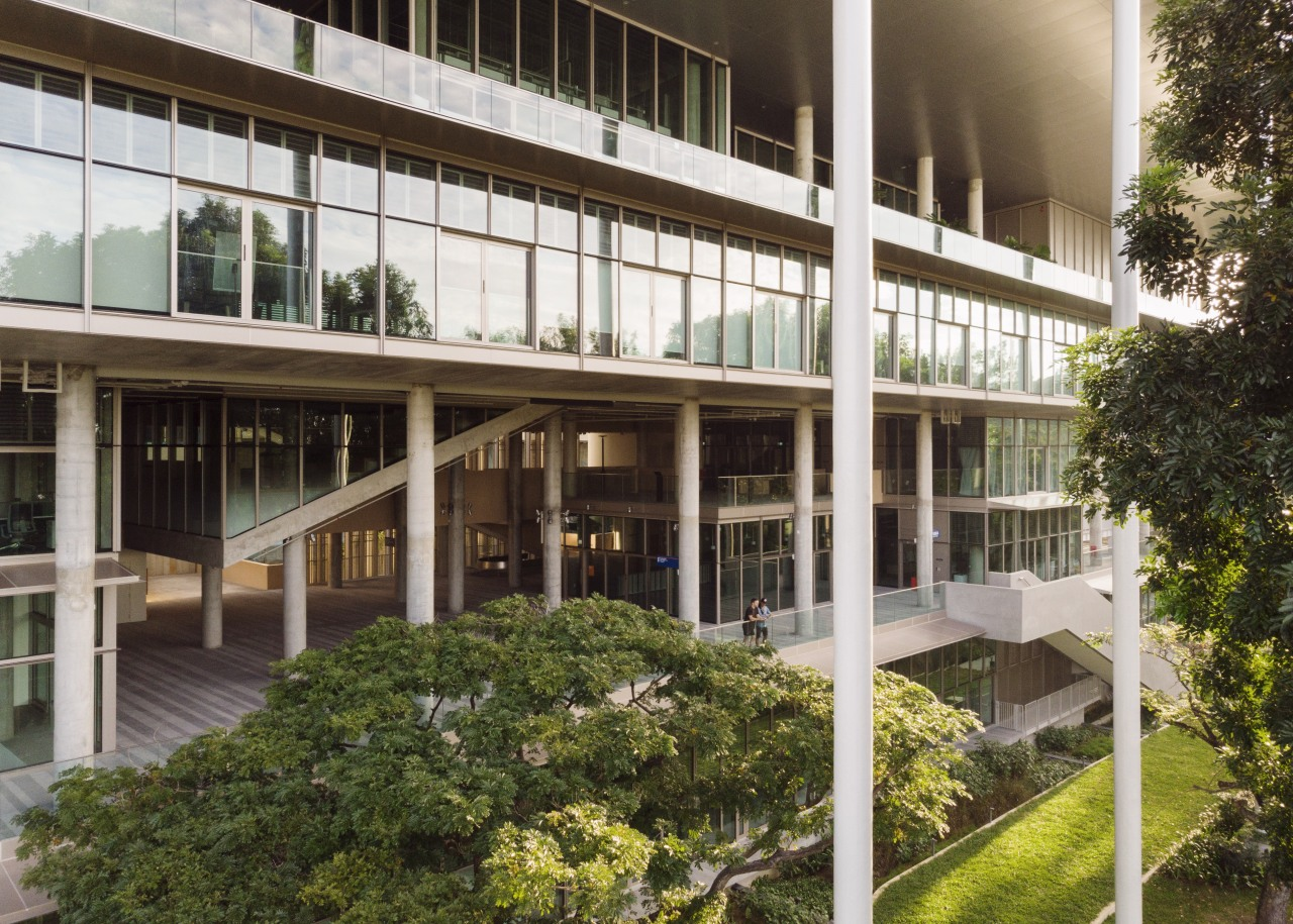 The innovative SDE4 building is much like a architecture, building, campus, facade, mixed-use, property, residential area, tree, SDE4 building, air condition spaces, natural ventilation, university