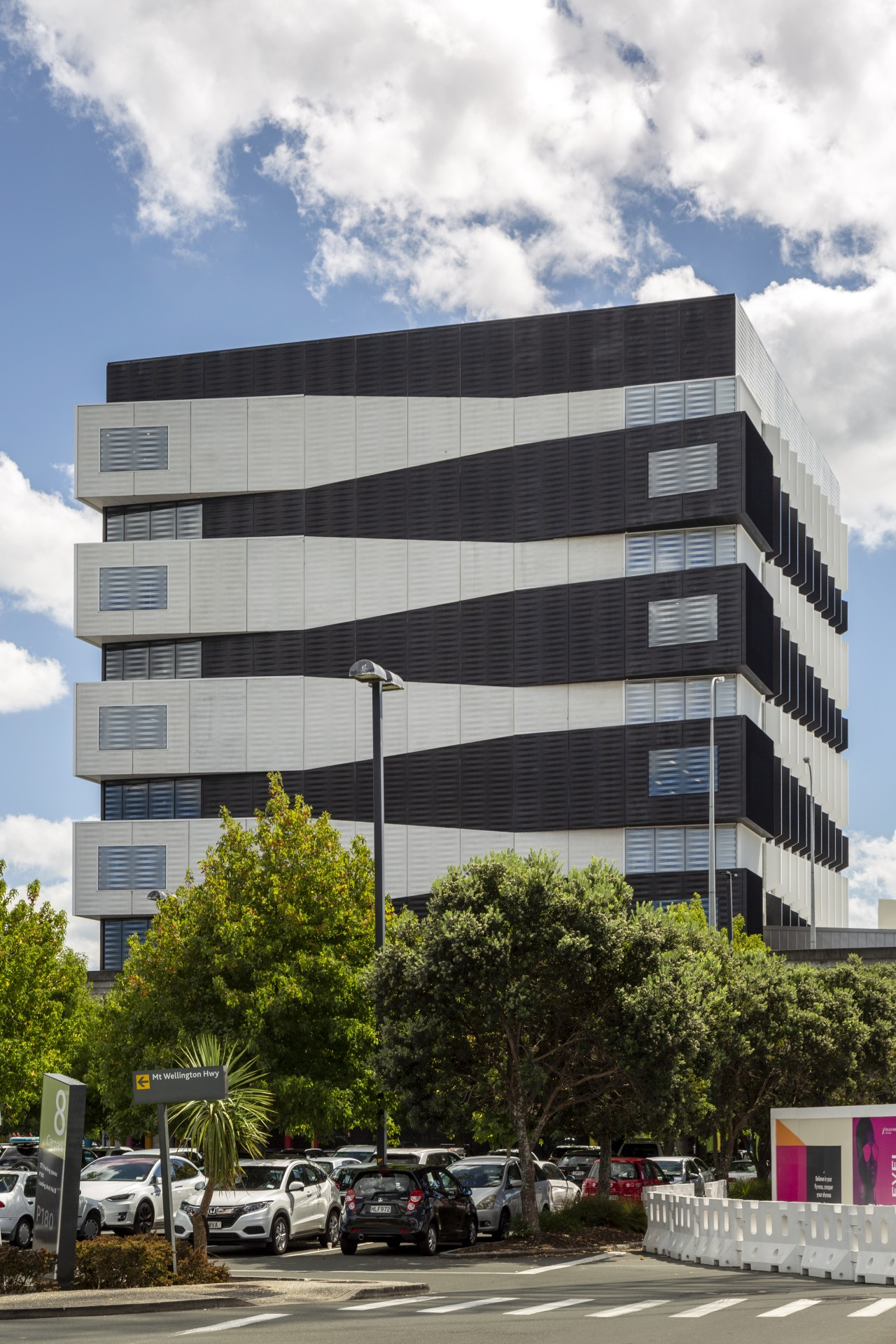 Alternating black and white projections on the south architecture, building, commercial building, corporate headquarters, windows, facade, headquarters, urban design, south facade,  No 1 Sylvia Park