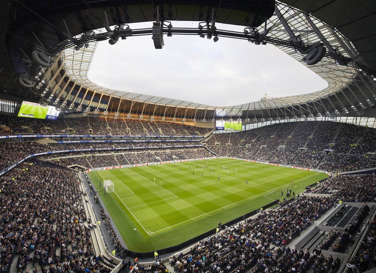Thanks to a changing pitch mechanism, Tottenham Hotspur's architecture, arena, artificial turf, crowd, goal, grass, international rules football, soccer-specific stadium, sport venue, stadium, black
