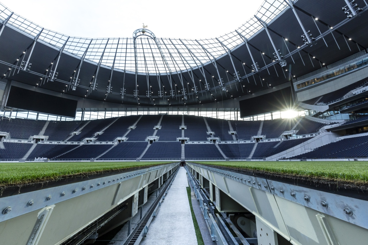 Automated pitch trays at Tottenham Hotspur's new stadium architecture, arena, building, metropolitan area, soccer-specific stadium, sport venue, stadium, black, white