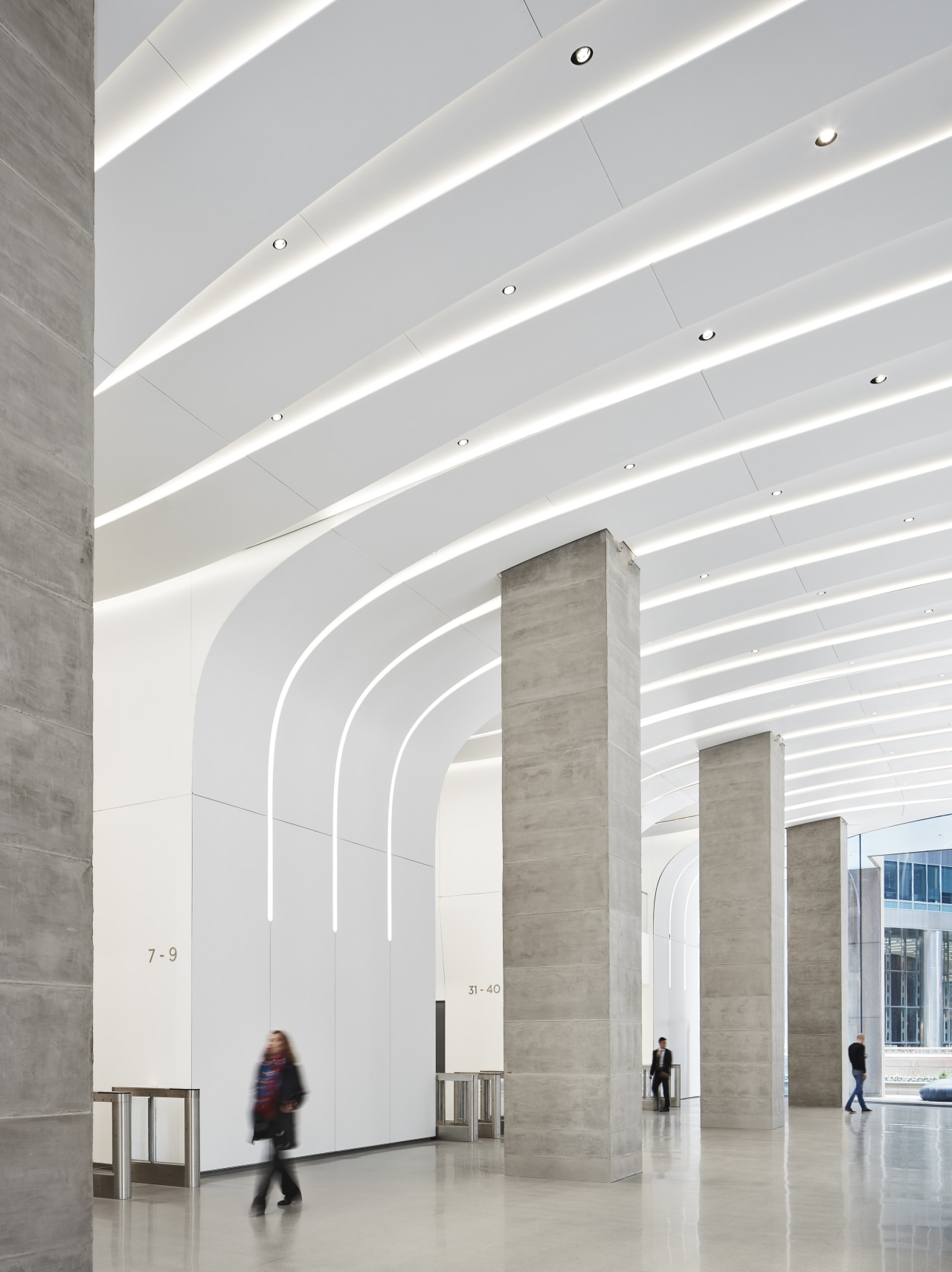Made of tough composite Krion, the lobby wall architecture, building, ceiling, columns, interior design, line, lobby, CMe Centre, Kruek and Sexton