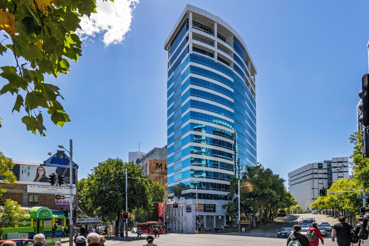 While the original office block's facade at 396 hotel, architecture, building, city, 396 Queen Street,  Four Points sheraton, Russell Property Group, Hotel