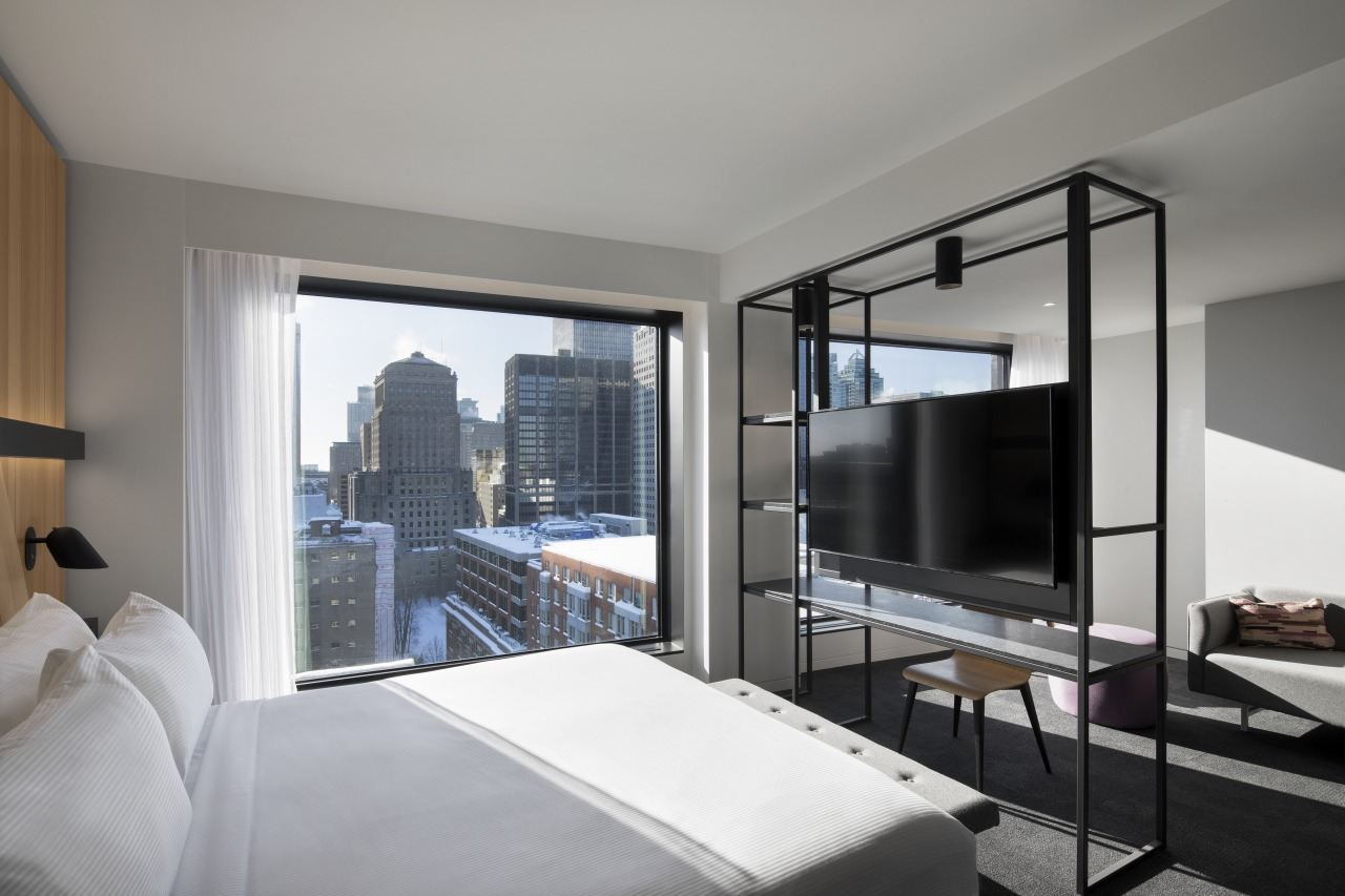 Highly contemporary, the Hotel Monville's bedrooms include floor-to-ceiling apartment, architecture, Hotel Monville, Monteal, Robot service