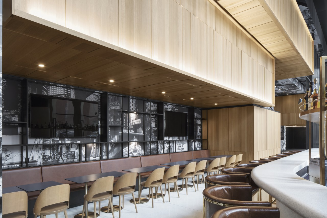 Giant formwork lends drama to Hotel Monville's expansive architecture, design, furniture, lobby, mixed-use, Monville Hotel, formwork, terrazzo bar