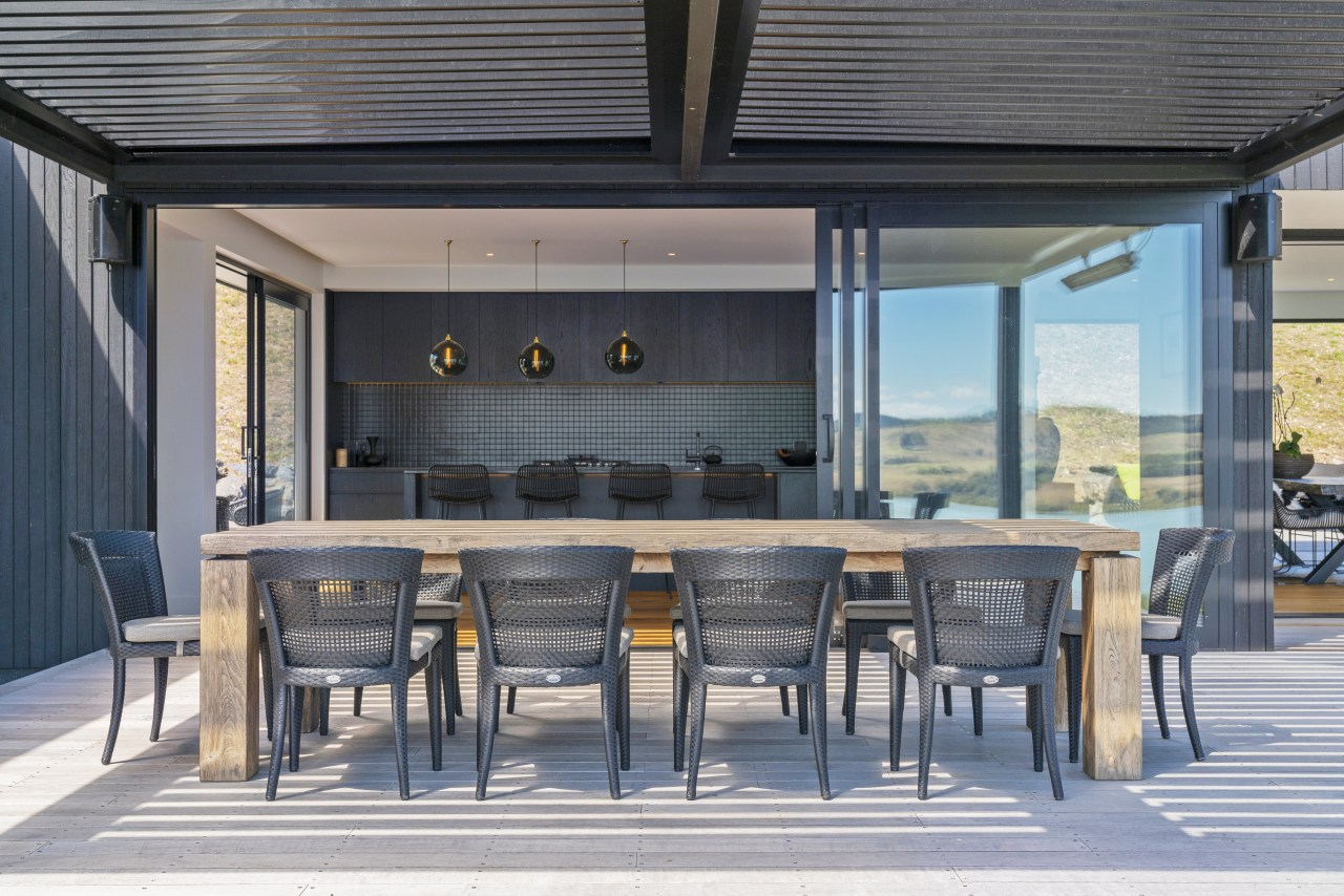 The outdoor dining area in this home is