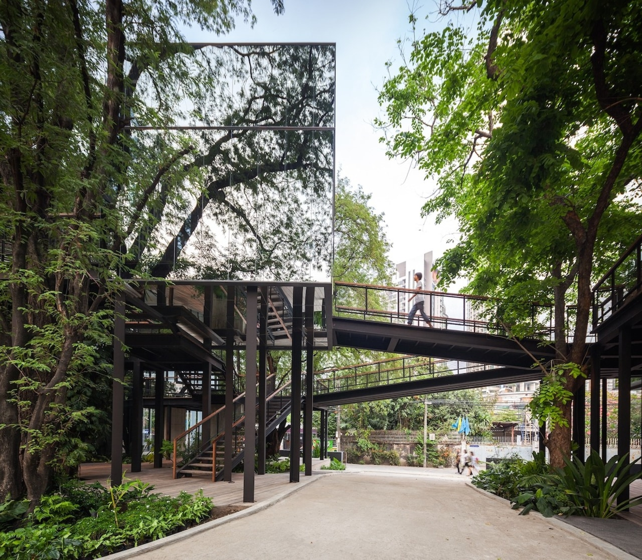 The glass structure blends into the trees - architecture, condominium, plant, real estate, skyway, tree, walkway, black, white