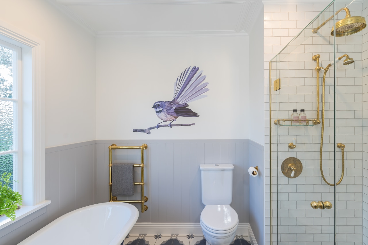 Fleeting fantail – this colourful decal adds a bathroom, bird, ceiling, floor, home, house, interior design, property, purple, room, tile, wall, wallpaper, gray, decal, crackle glaze, crackled tile