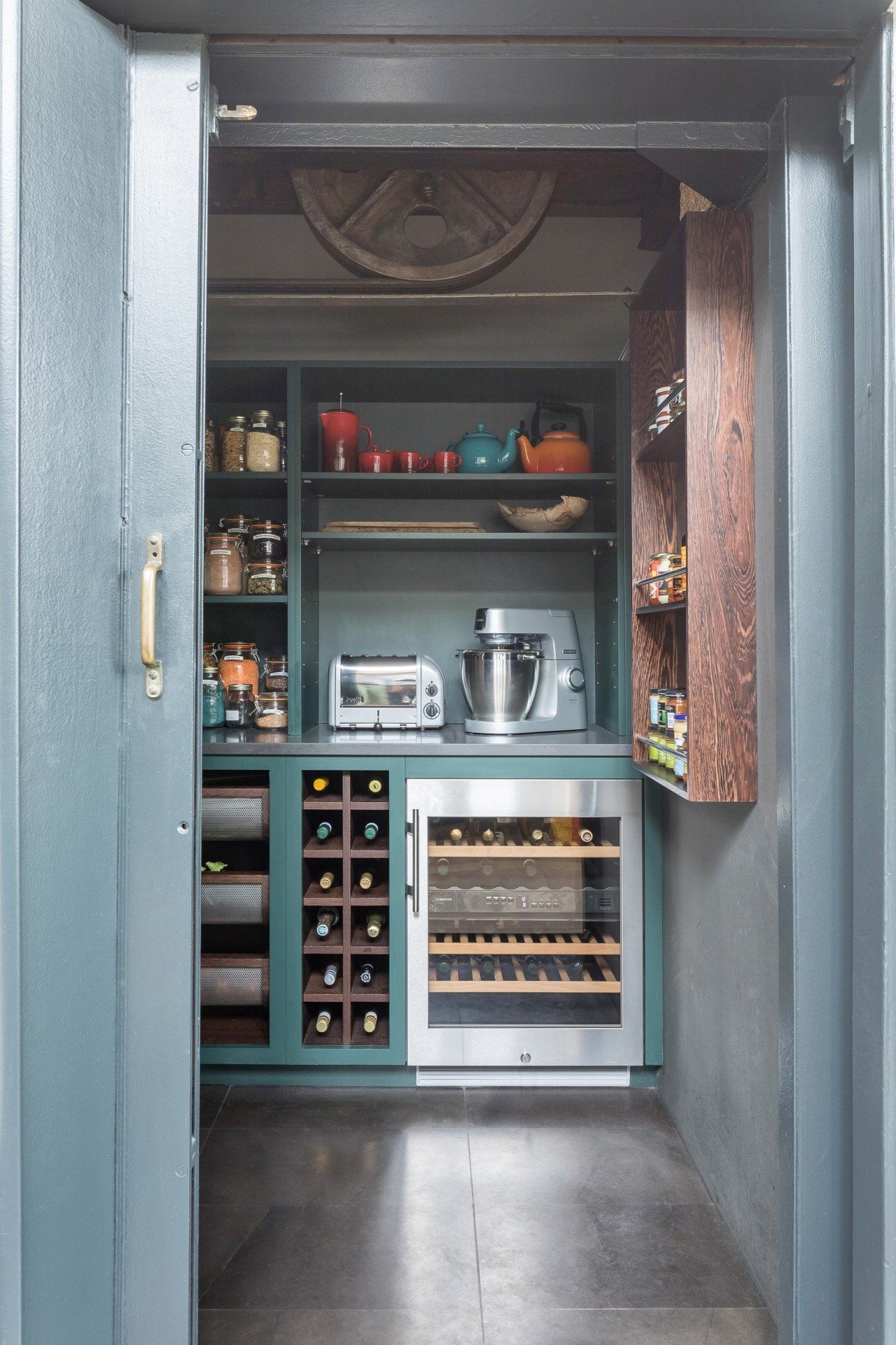 An old industrial lift was repurposed for the