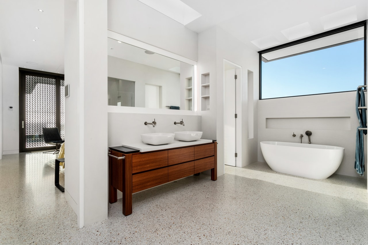 The ocean-side villa that this bathroom forms part