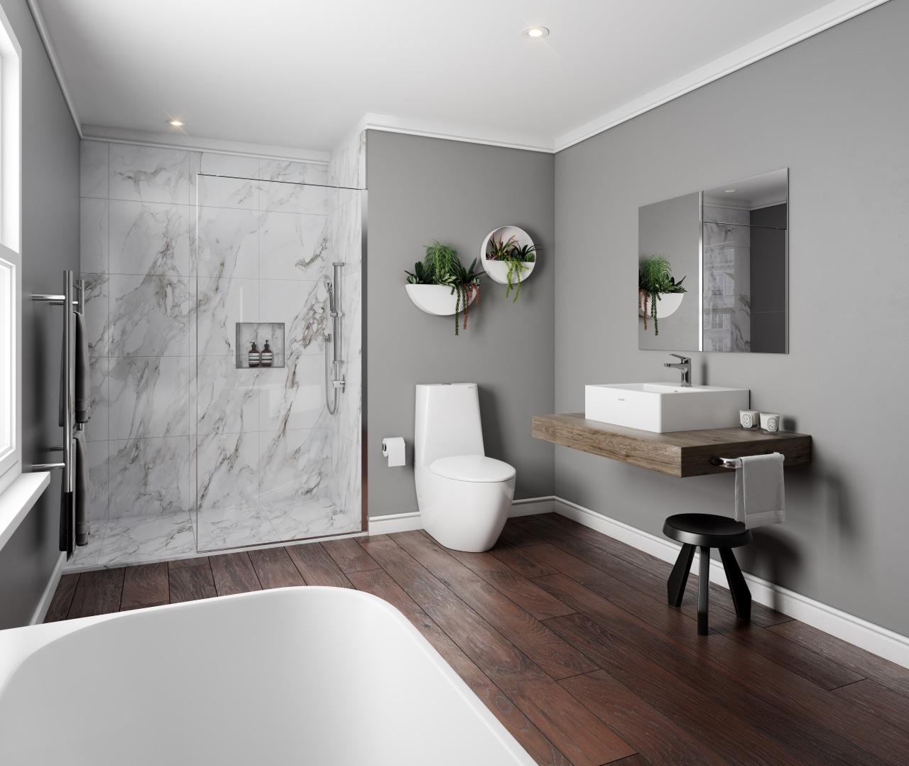 这个由Plumbing World 设计的卫生间,墙壁上巧妙运用绿植做装饰,既平衡了大理石的冰冷感,又与木质洗脸池台面相映衬。 architecture, bathroom, bathroom accessory, floor, home, interior design, plumbing fixture, room, sink, tap, wall, gray
