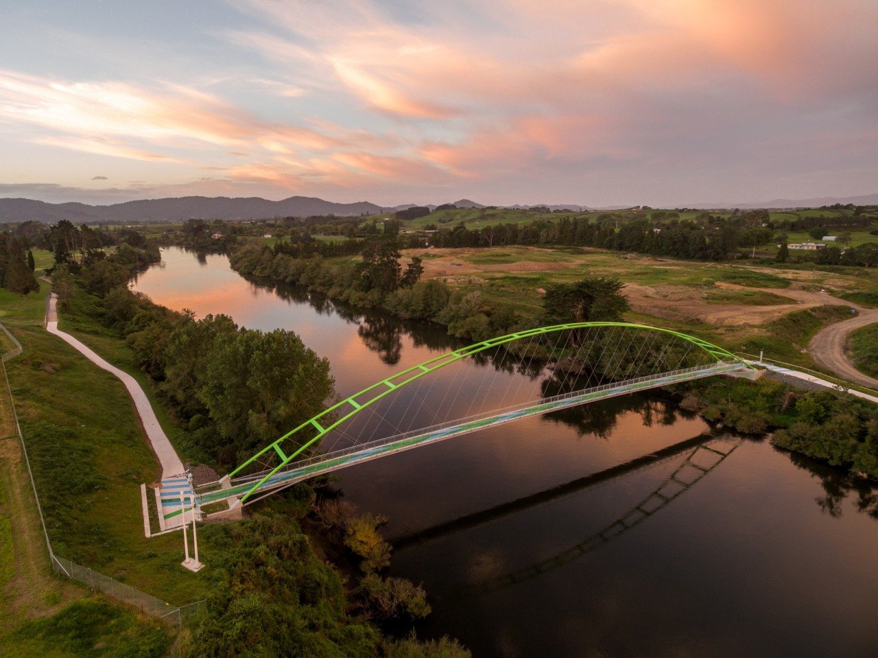 Perry Bridge aerial photography, bank, bird's eye view, bridge, cloud, dawn, evening, fixed link, floodplain, fluvial landforms of streams, horizon, landscape, morning, photography, reflection, reservoir, river, rural area, sky, sunlight, water, water resources, waterway, wetland, brown, gray