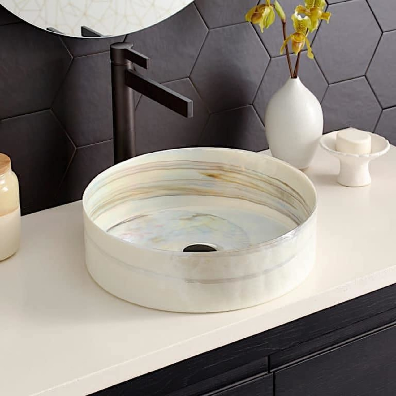 Native Trails: Murano Collection basin – the solid white, black