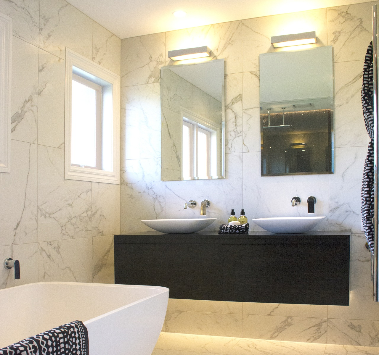 This family bathroom has a separate toilet room, architecture, bathroom, bathroom accessory, bathroom cabinet, bathtub, building, ceiling, ceramic, floor, flooring, furniture, home, house, interior design, lighting, material property, mirror, plumbing fixture, property, real estate, room, sink, tap, tile, wall, white