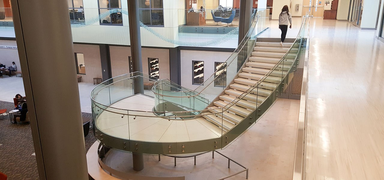 Rutgers University 4 - architecture | building | architecture, building, glass, handrail, interior design, lobby, shopping mall, stairs, urban design, gray, brown
