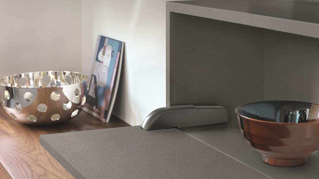 Salice Pacta Fall Flap Door In Satin Metal ceramic, furniture, interior design, table, tableware, tap, gray, black