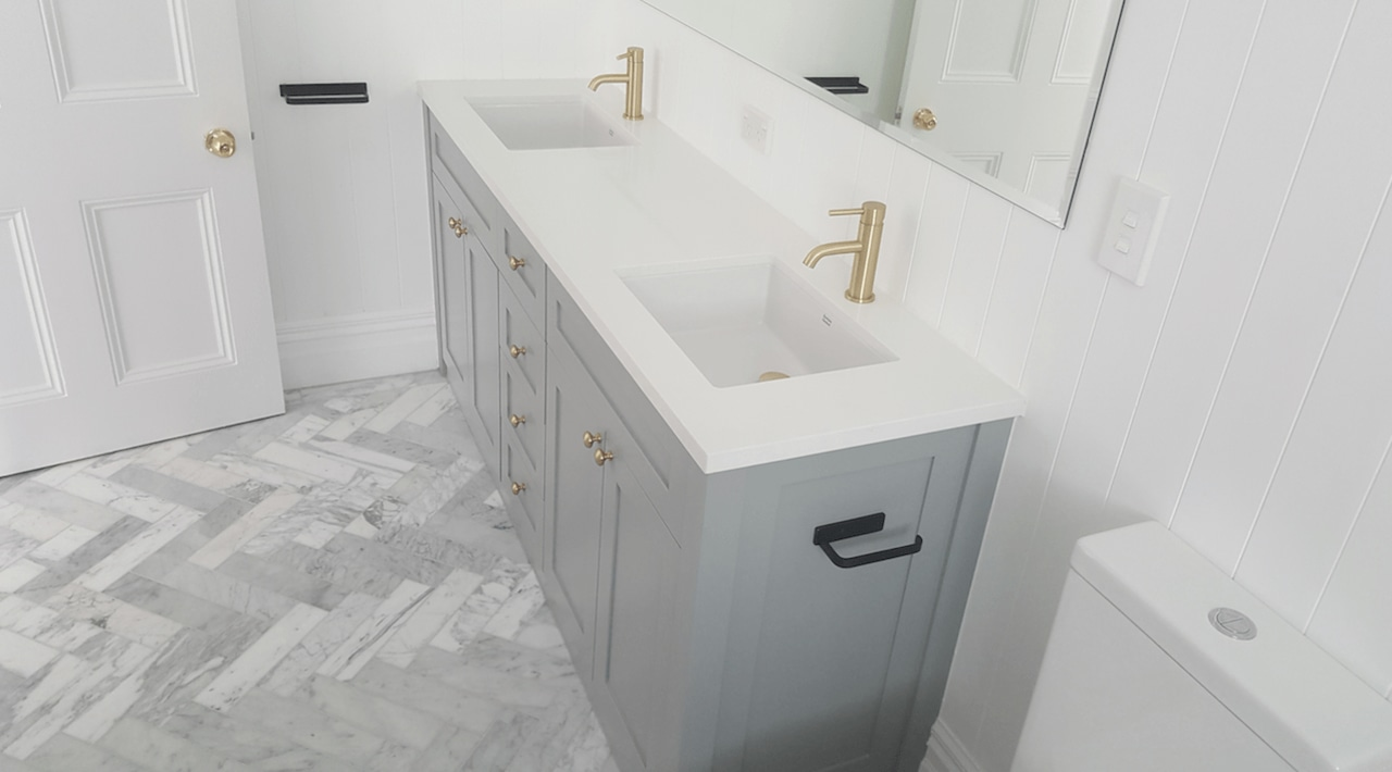 Screen Shot 2018 07 05 At 8 37 bathroom, bathroom accessory, bathroom cabinet, bathroom sink, drawer, floor, plumbing fixture, tap, tile, gray, white, 5 Star Bathroom,  Gold shower fitting,  gold taps