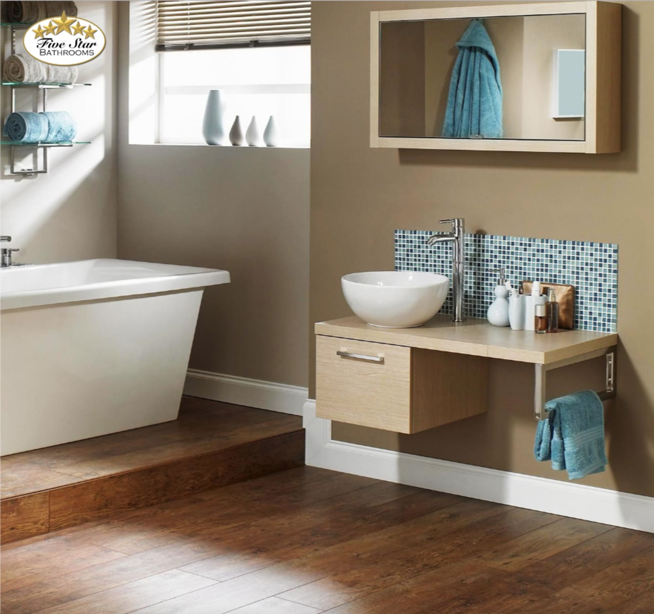 Bathroom by Five Star Bathrooms bathroom, bathroom accessory, bathroom cabinet, floor, flooring, hardwood, plumbing fixture, shelf, sink, brown, white