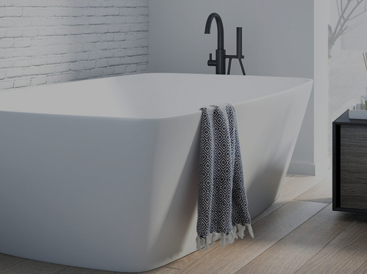 Freestanding baths are a stunning and impressive feature angle, bathroom sink, bathtub, bidet, plumbing fixture, product, tap, gray