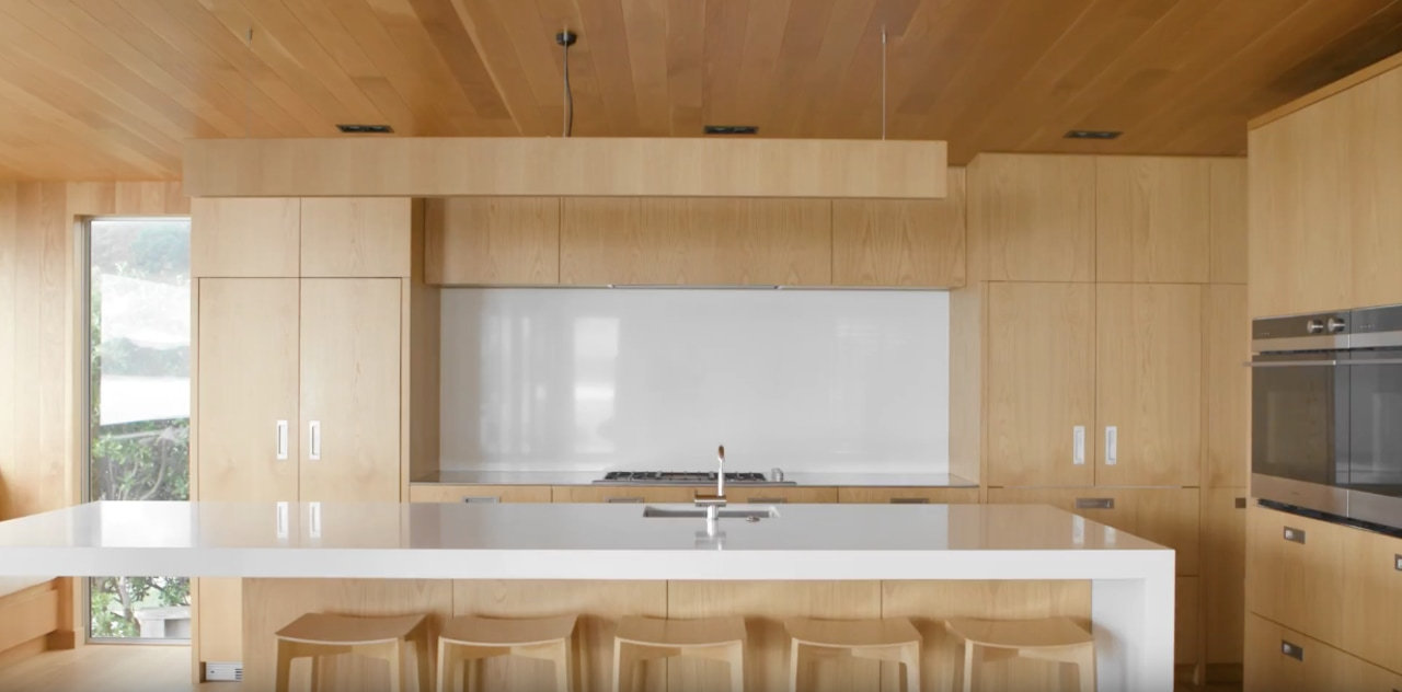 Hahei House: A Fisher & Paykel Case Study architecture, building, ceiling, floor, flooring, furniture, home, house, interior design, light fixture, lighting, property, room, sink, tile, wall, wood, brown, white, orange