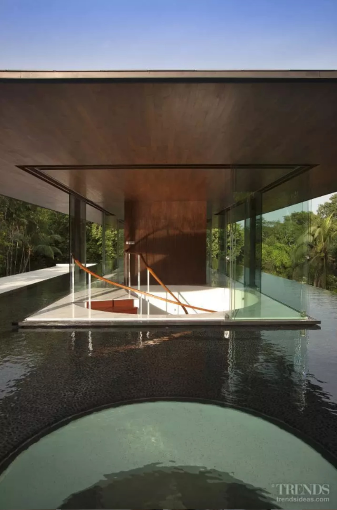 The entire corners of the living pavilion can architecture, building, design, home, house, leisure, pavilion, property, real estate, shade, water, black