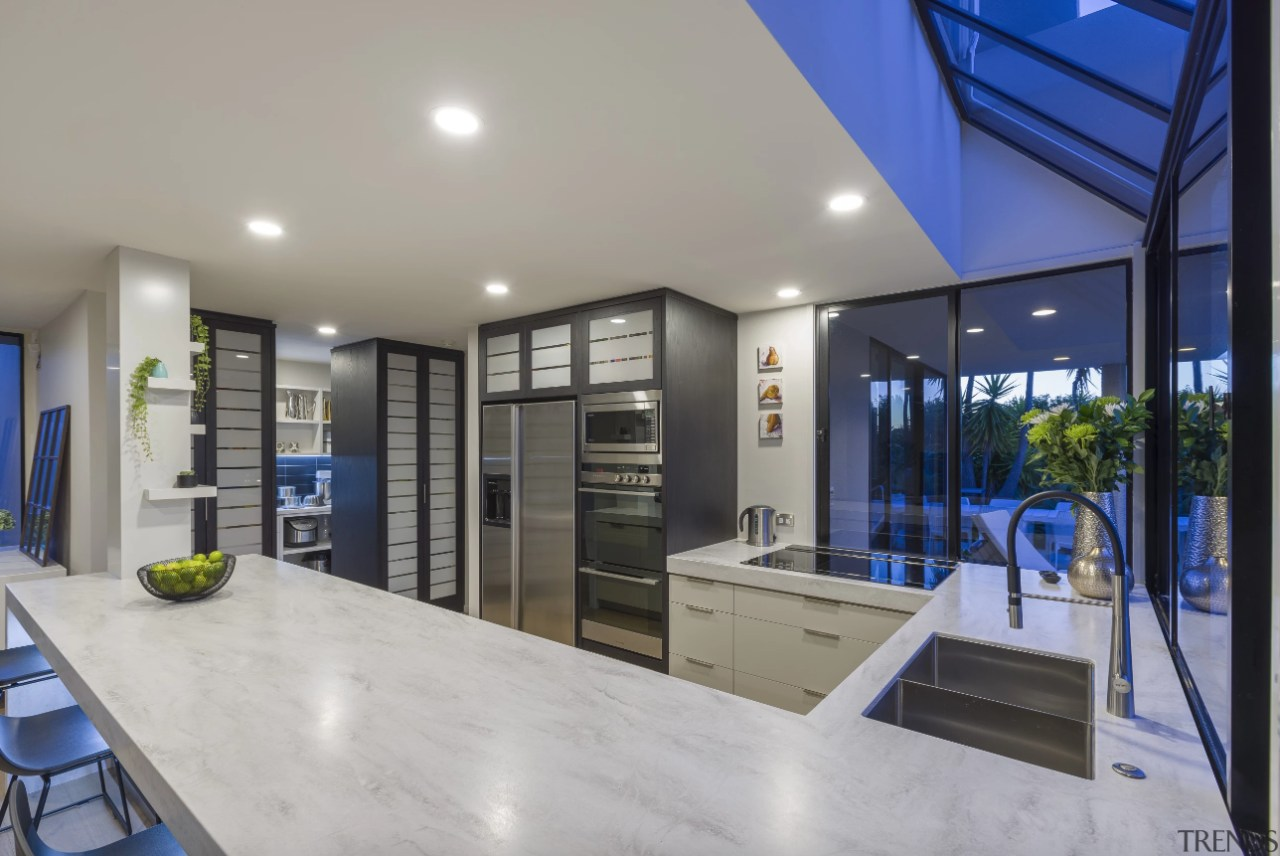 Stainless steel is stylish as well as water apartment, architecture, building, ceiling, daylighting, design, door, facade, floor, flooring, furniture, glass, home, house, interior design, lighting, office, property, real estate, room, window, gray