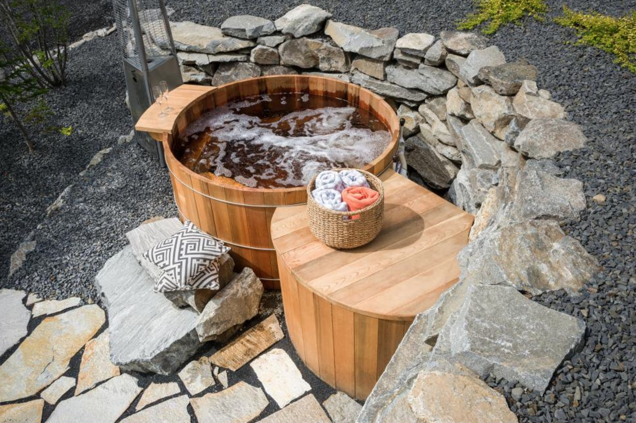 Whenever the spa is used, add double chlorine rock, water feature, gray