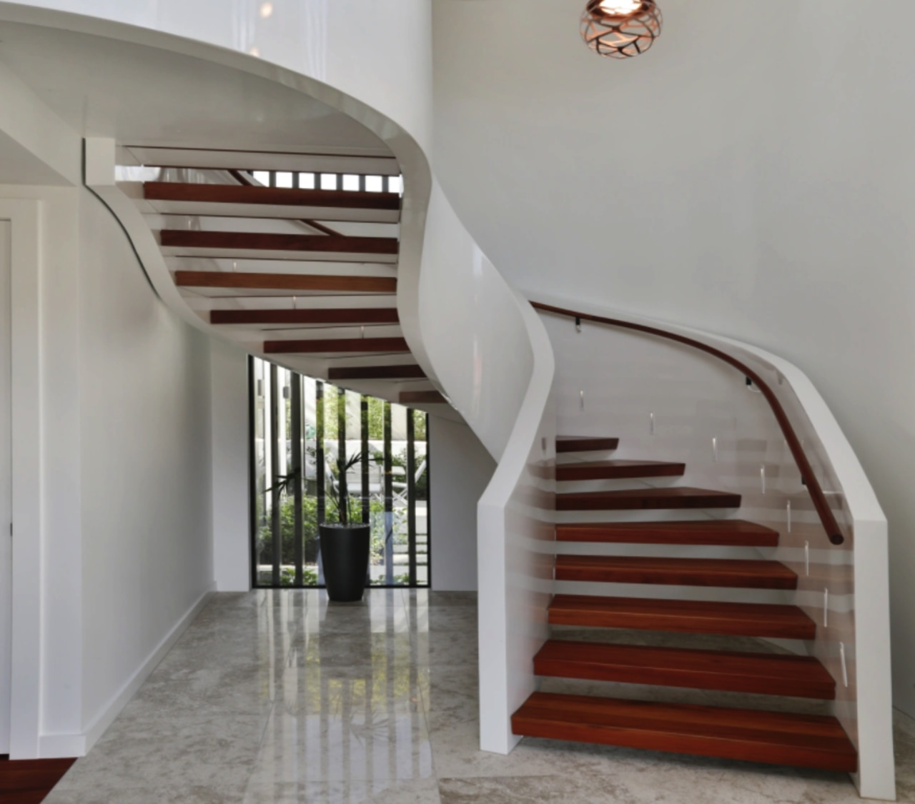 On this lux seafront home, the steel stair