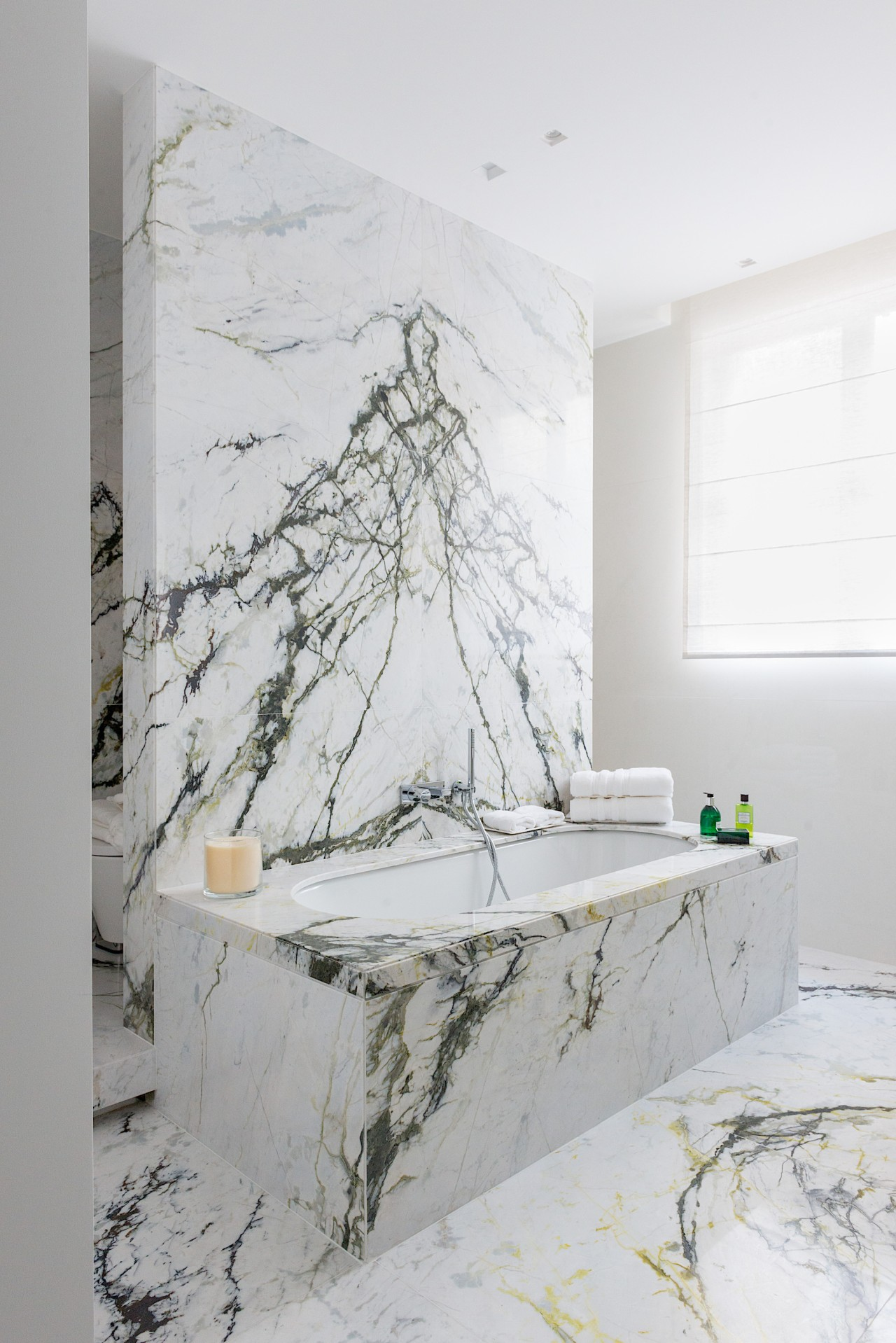 Clear lines in the distinctive marble create a white, gray