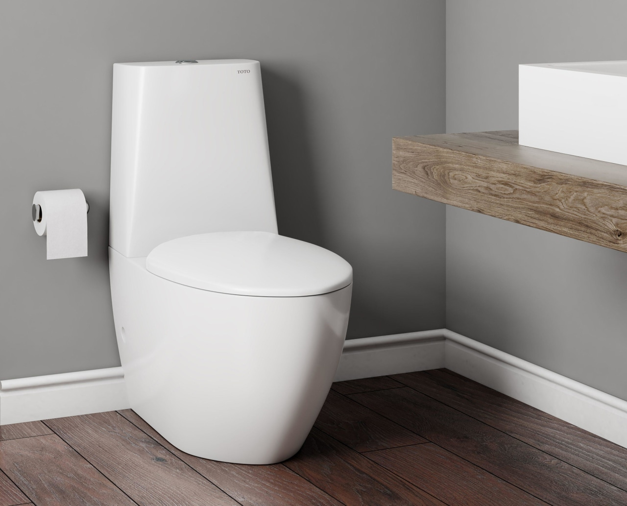 TOTO Valdes Basin and Le Muse Toilet Suite gray, white