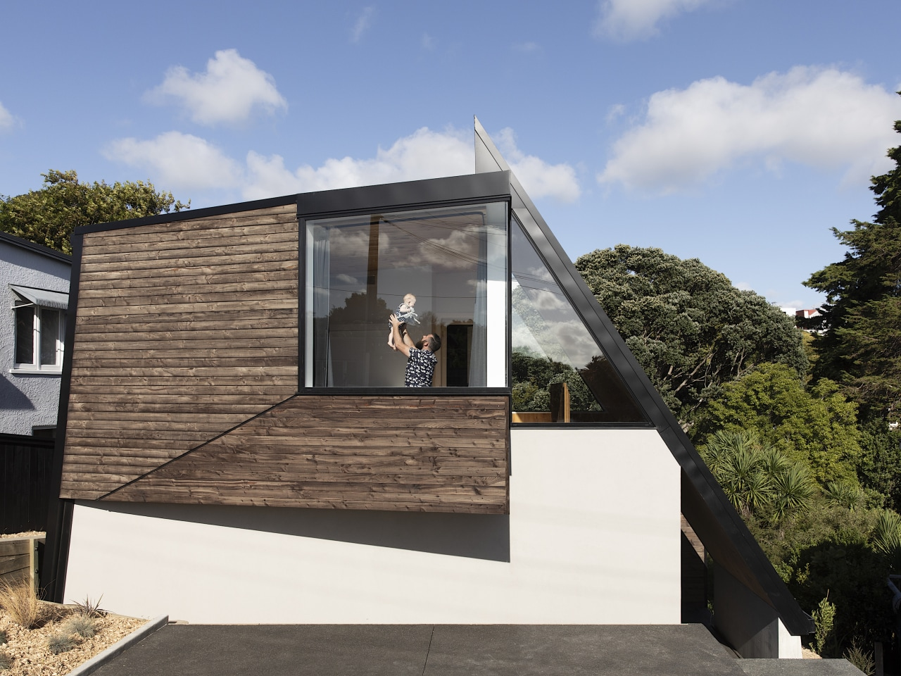 The design of TOA's Tuarangi House plays with gray