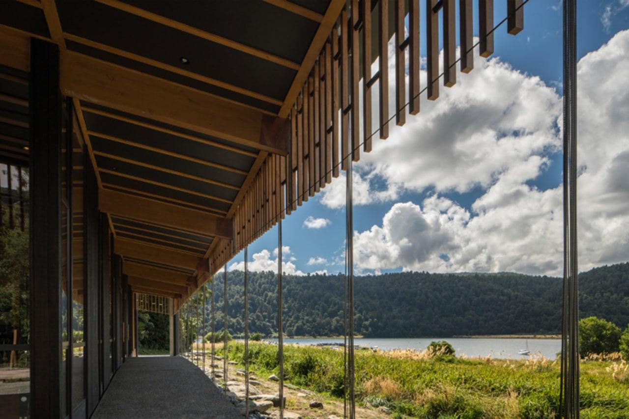 WINNER: Te Wharehou o Waikaremoana/ Te Wharehou o architecture, cloud, home, house, real estate, sky, structure, tree, wood, black
