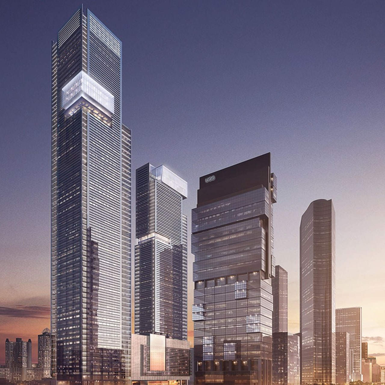 Thamrin Nine Tower 1. Image courtesy of KPF. blue