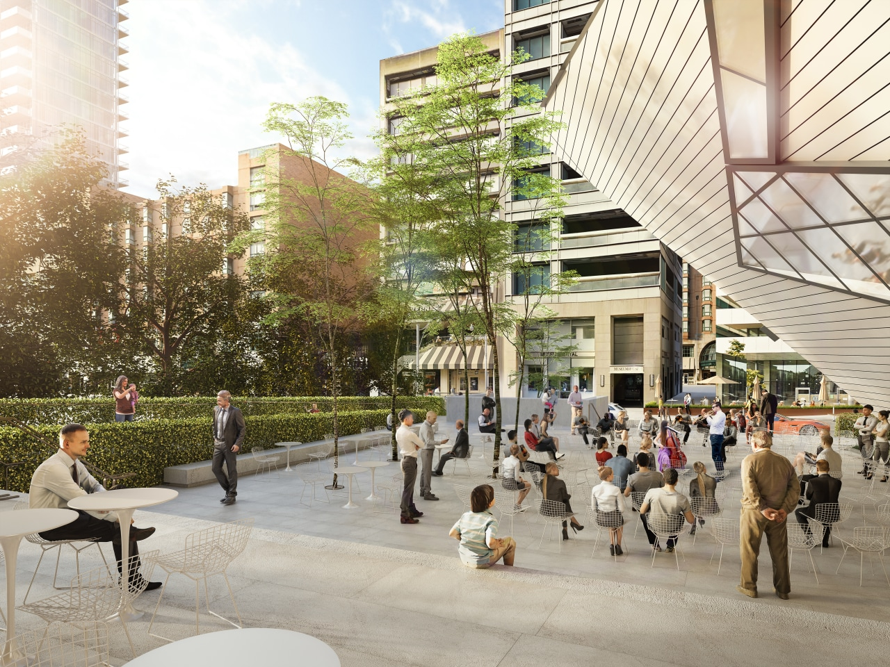The Reed Family Plaza connects with nature and architecture, building, city, commercial building, condominium, downtown, human settlement, metropolitan area, mixed-use, pedestrian, plaza, public space, real estate, residential area, tower block, urban area, urban design, white