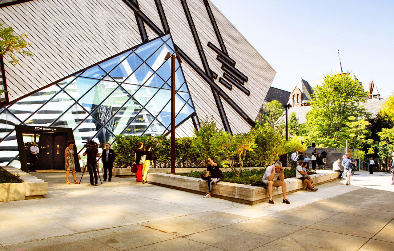The Reed Family Plaza connects people and provides architecture, building, daylighting, mixed-use, pavilion, roof, tree, white