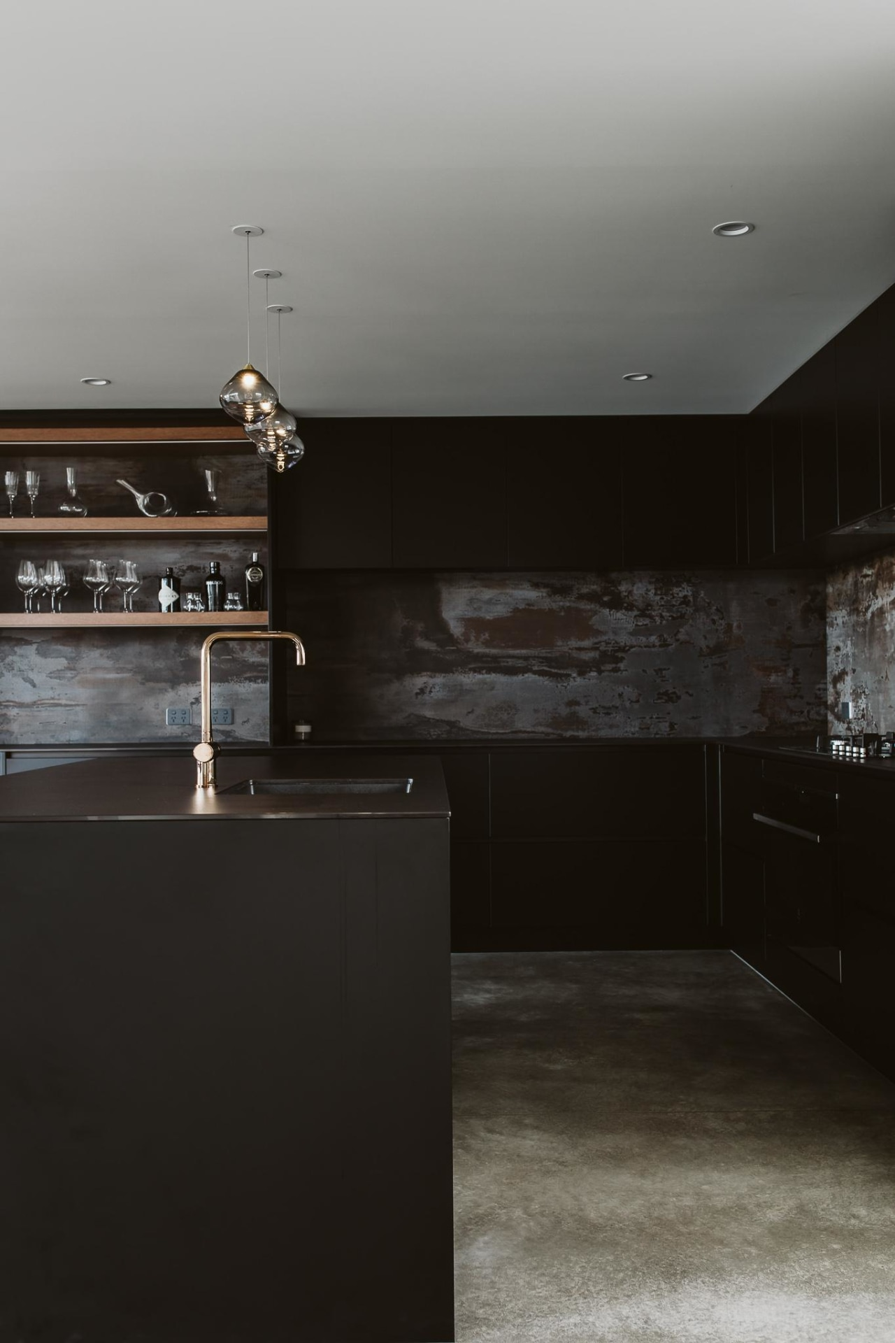 Slender Dekton benchtops are a feature of this architecture, black, black-and-white, building, ceiling, design, floor, flooring, furniture, hardwood, house, interior design, light, line, material property, room, table, wall, wood, black, gray