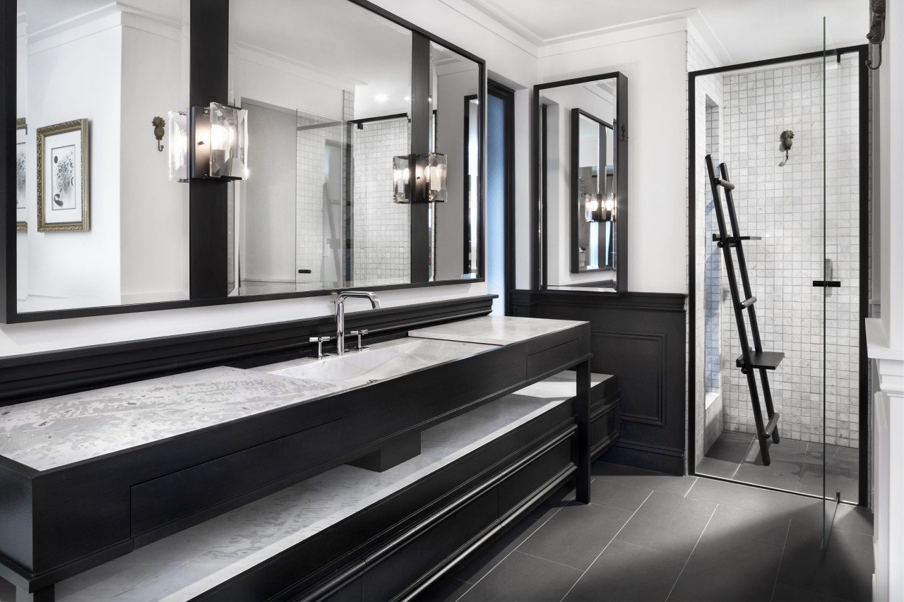 2018 TIDA Australia Designer Bathroom Winner – Leon bathroom, black and white, floor, flooring, interior design, room, white, black