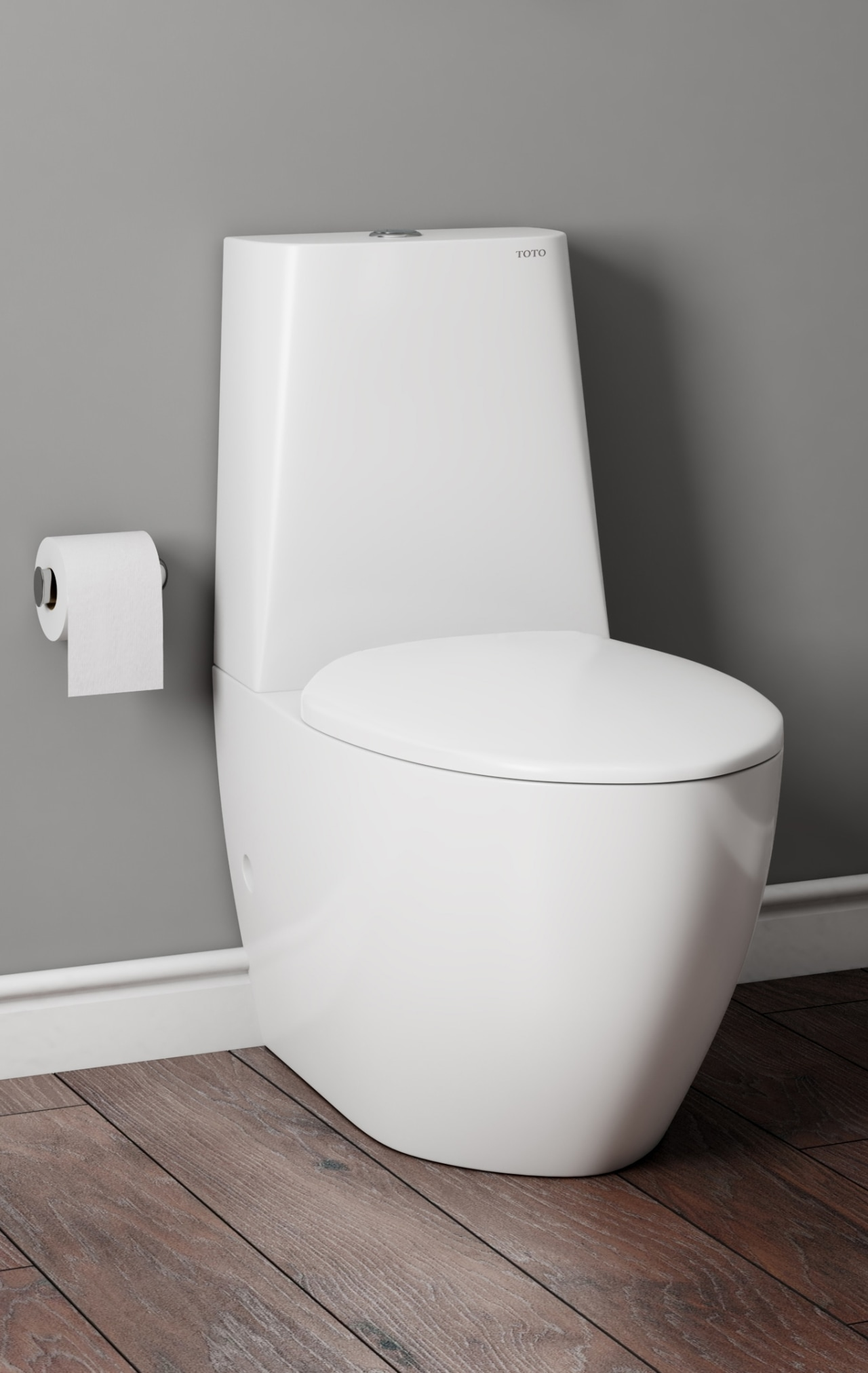 This toilet has a universal trap type (meaning angle, bathroom sink, bidet, ceramic, chair, plumbing fixture, product, tap, toilet, toilet seat, gray, white