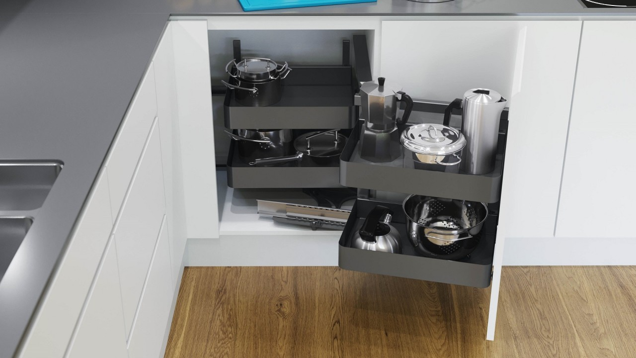 Let's turn the corner on your kitchen storage furniture, product, white, gray