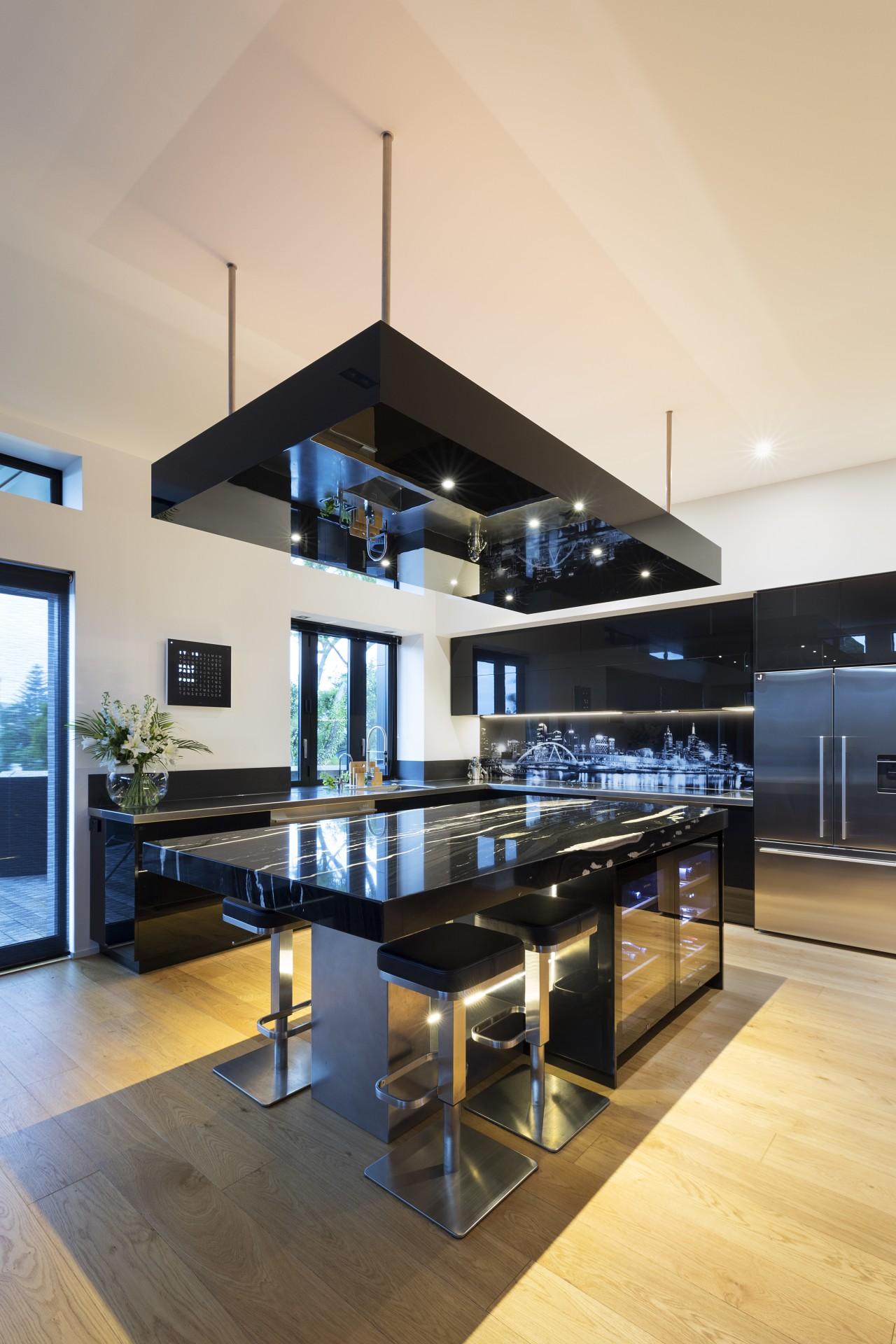 Copacabana granite was chosen for the island, which countertop, interior design, kitchen, table, orange