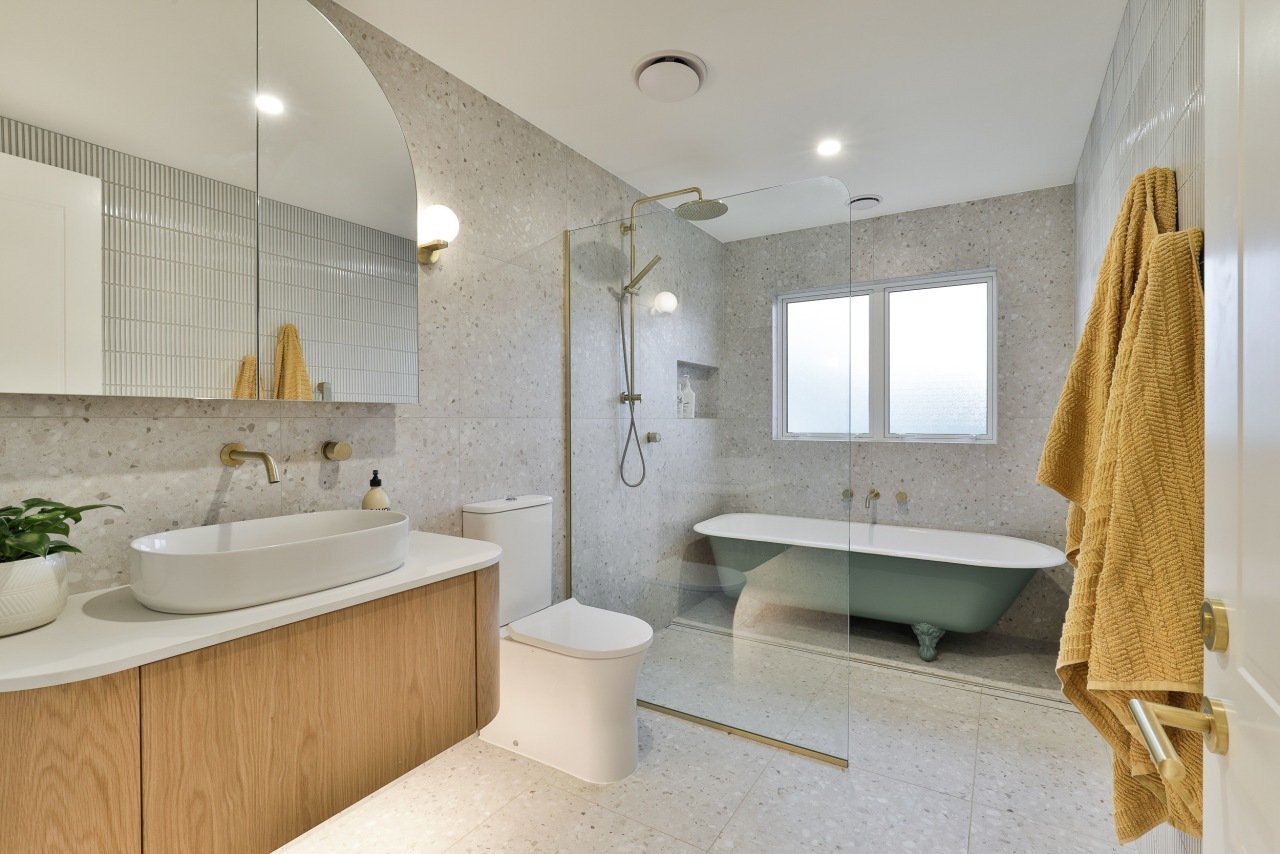 The existing children's bathroom is transformed to a
