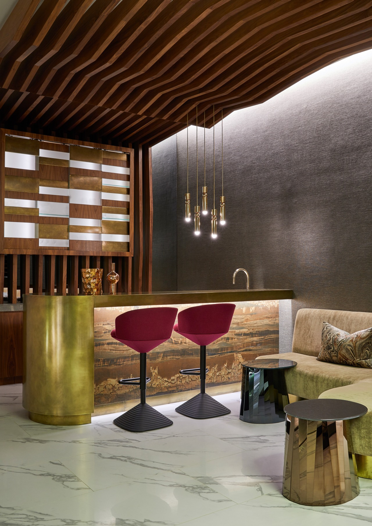The combination of material and form is at architecture, building, ceiling, coffee table, furniture, interior design, lobby, material property, room, table, brown, gray