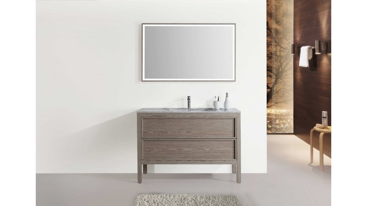 The Arrivo vanity is offered in three sizes white