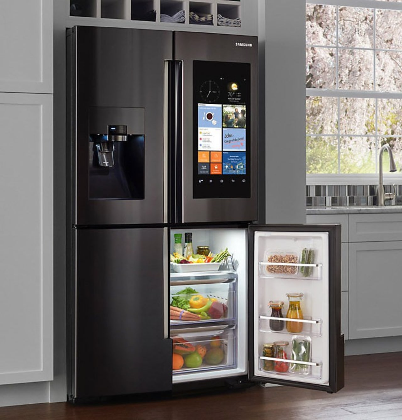 Smart Hub: A refrigerator with a Wi-Fi enabled home appliance, kitchen appliance, major appliance, product, refrigerator, shelving, black, gray