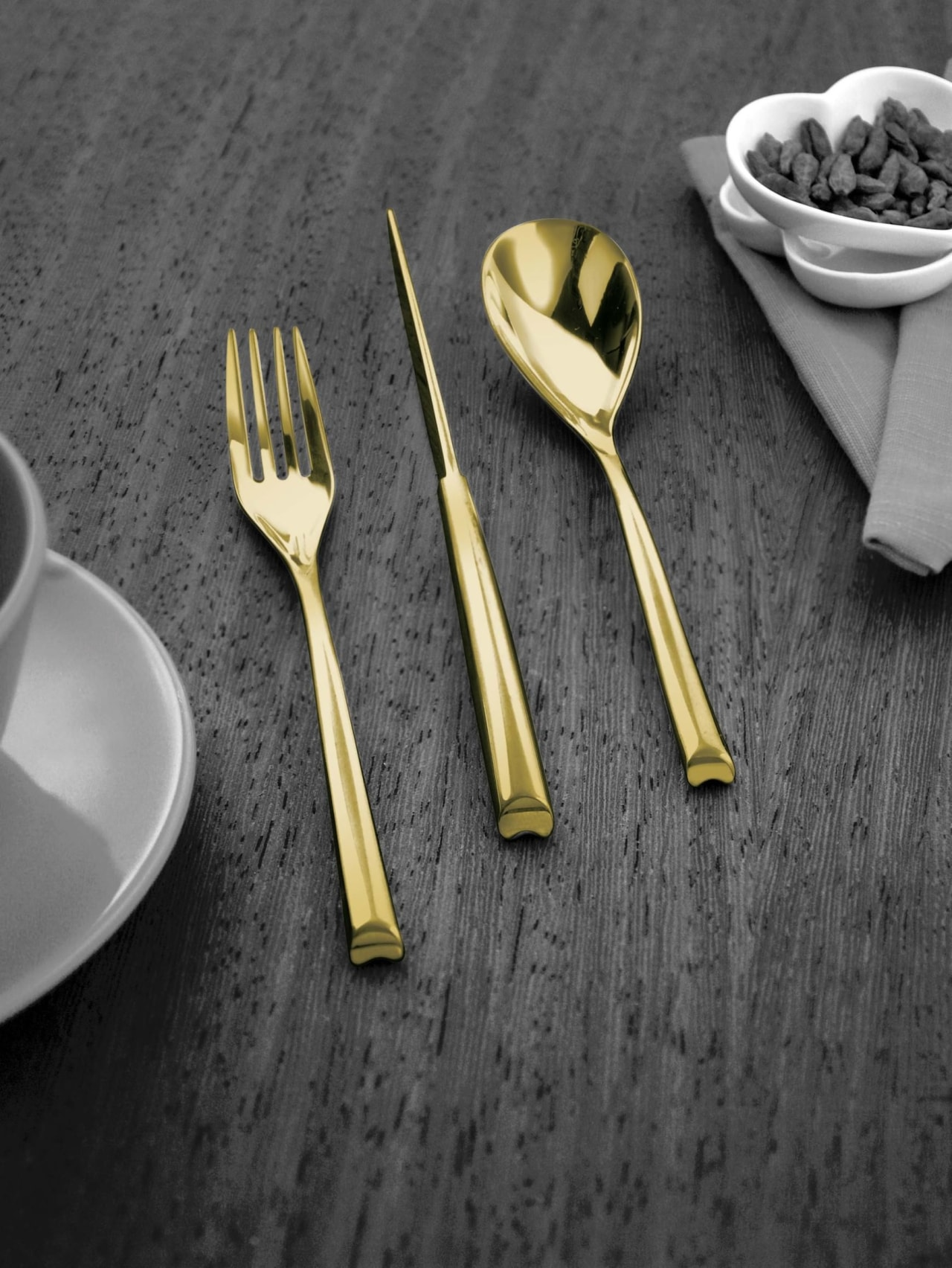 A selection from The Studio of Tableware cutlery, fork, product, spoon, tableware, black, gray
