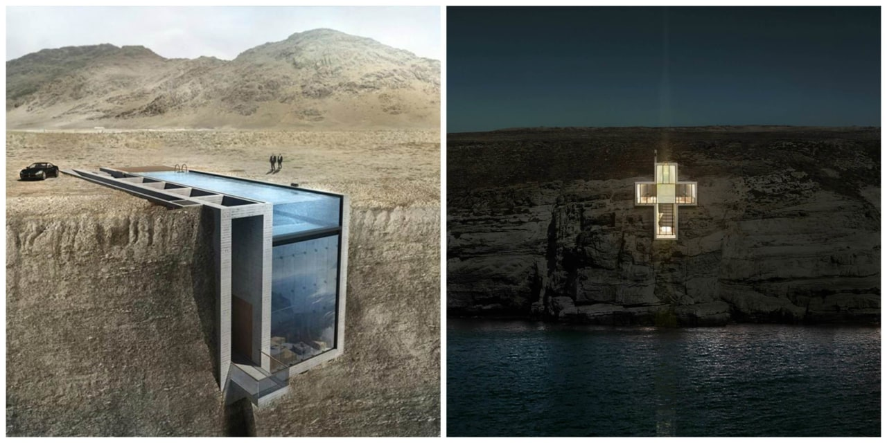Casa Brutale and Lux Aeterna / Holy Cross water, water resources, black, gray
