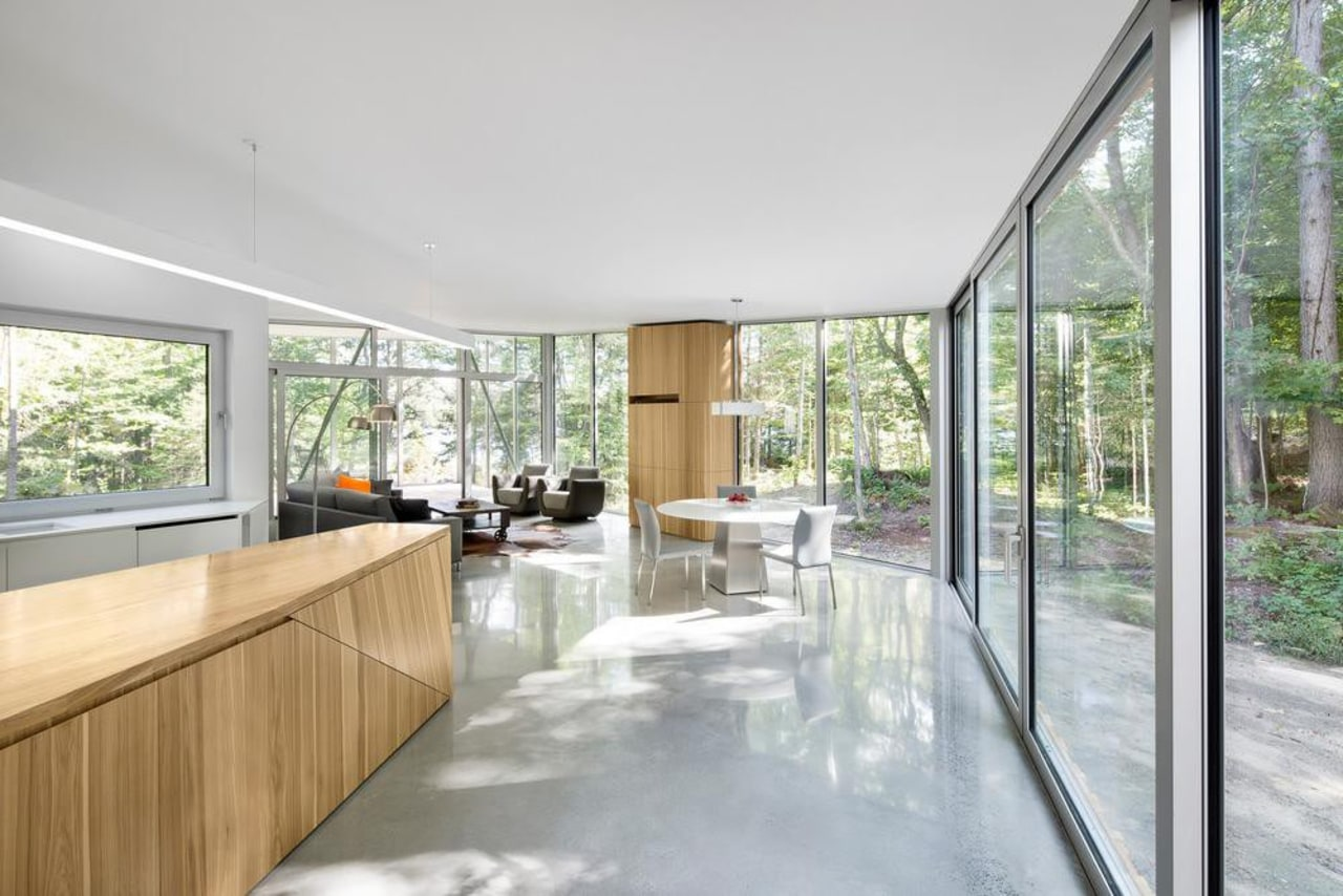 Interior surfaces of wood, white walls and polished architecture, daylighting, home, house, interior design, property, real estate, roof, window, gray, white