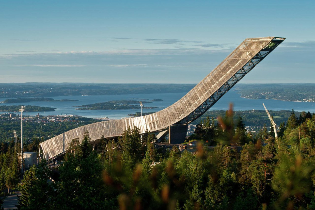 The design of the new Holmenkollen Ski Jump bridge, extradosed bridge, fixed link, sky, tree, teal